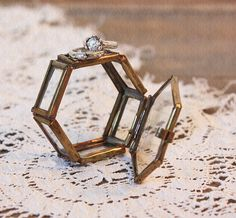 Vintage trinket boxes to hold your wedding rings.   @Cloth & Patina