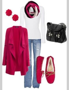 Sweter pink and blu jeans