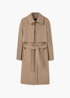 Manteau en laine avec ceinture   MANGO