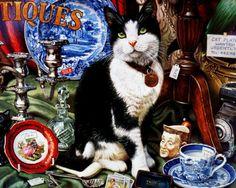 Cute cat - cat, cute, animals, painting