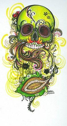 Green skull by sarah-miichelle on DeviantArt Skull Tattoo Design, Skull Design, Mexican Skulls, Mexican Art, Candy Skulls, Sugar Skulls, Sugar Skull Artwork, Totenkopf Tattoos, Day Of The Dead Skull