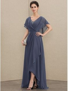 A-Line V-neck Asymmetrical Chiffon Mother of the Bride Dress With Beading Sequins 008179221 Mob Dresses, Fall Dresses, Fashion Dresses, Bridesmaid Dresses, Wedding Dresses, Mother Of The Bride Dresses Long, Chiffon Evening Dresses, Chiffon Dress, Designer Dresses
