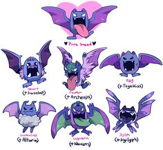 ginsengandhoney: wanted to do that pokemon variations thing people've been doing lately that was started by too-much-green!!only mine is of a pokemon nobody cares about and it would've made more sense if i did it with zubat. i didn't do a very good job naming them either, but i had a lot of fun doing this!