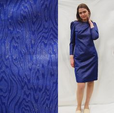 80s Vintage Midi Indigo blue Evening Golden Metallic Cocktail Long sleeve Wiggle Dress/ 1980s Party Pencil Skirt Minimalistic Texture Party