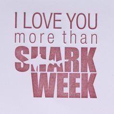 I love you more than shark week. Taylor Anderson to Lamplugh Perich :-) Love You More Than, All You Need Is Love, Pet Shark, Shark Bites, Serious Relationship, Shark Week, Married Life, Make Me Smile, True Love