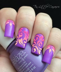 30 Trendy Purple Nail Art Designs You Have To See Hative Nails Yellow, Purple Nail Art, Purple Nail Designs, Best Nail Art Designs, Neon Nails, Love Nails, Pretty Nails, My Nails, Glitter Nails