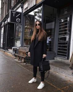 Black coat outfit with white sneakers, # . - Black coat outfit with white sneakers, outfit - Black Coat Outfit, White Sneakers Outfit, White Outfits, White Reebok, Sneakers Adidas, Dress Black, Winter Fashion Outfits, Casual Winter Outfits, Urban Outfits