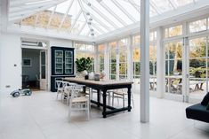 Dining Table And Antique Painted Cabinet - Glass Conservatory Dining Room Conservatory Dining Room, Glass Conservatory, Edwardian House, Victorian Homes, Interior Garden, Room Interior, Sunrooms And Decks, Oval Room Blue, White Tile Backsplash