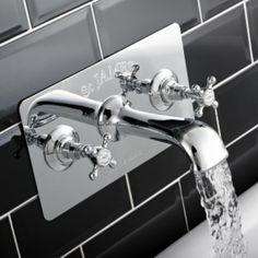 A striking Wall Mounted Traditional Bath Filler with concealing plate. Traditional Baths, Traditional Bathroom, Shower Valve, London, Sink, Plates, Vintage, Bathrooms, Home Decor
