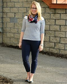 simple stripe + floral pattern mixing for work