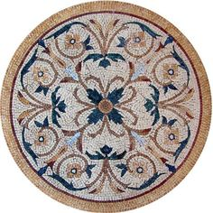 The beautiful Aeliana botanical medallion evokes the elegance of ancient Persian artwork. Add art and dimension to your indoor or outdoor spaces by using this natural stone mosaic to top a table counter top or tile floor.