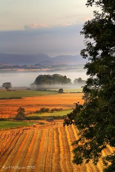 The Carse of Stirling, from Kippen, looking towards the Trossachs Hills, Scotland