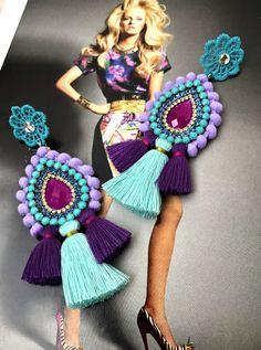 Funky Earrings, Beaded Tassel Earrings, Soutache Earrings, Tassel Jewelry, Beaded Brooch, Bead Jewellery, Earrings Handmade, Beaded Jewelry, Jewelry Patterns