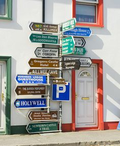Irish Street each, via Etsy. just in case you have no clew were to go. it's an island, you can't get too lost! Arrow Signage, National Road, New Sign, Sign Sign, Irish Culture, Murals Street Art, Beautiful Streets, Old Signs, Space Travel