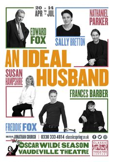 Design and illustration theatre poster for An Ideal Husband at Vaudeville Theatre London by Design. Sally Bretton, Edward Fox, Freddie Fox, Oscar Wilde, Theatre, Seasons, Classic, Poster, Typography
