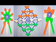 Wall Hanging for Independence Day Craft Ideas/Independence Day Badges/DIY/Origami Butterfly Making - YouTube Vj Art, Indian Independence Day, Origami Butterfly, Republic Day, Diy Origami, Wall Colors, Badges, Decorative Items, Paper Flowers
