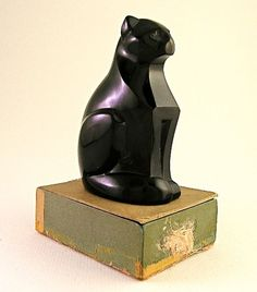 Black Crystal Statuette Of Bastet The Egyptian Cat Deity. Cats Were  Worshiped As Gods In