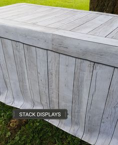 Whitewashed faux wood table covers from Stack Displays. #stackdisplays #tablecovers #craftshows