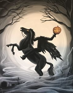 Excited to share this item from my shop: Headless HOrseman Halloween ARt Halloween Painting, Halloween Drawings, Halloween Art, Holidays Halloween, Vintage Halloween, Samhain, Headless Horseman Halloween, Sleepy Hollow Halloween, Disney Halloween Decorations