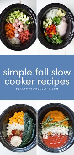 12 easy, healthy fall slow cooker recipes from Real Food Whole Life #realfoodwholeliferecipe #dairyfreerecipe #glutenfreerecipe #slowcookerrecipe #crockpotrecipe #fallslowcooker #falldinnerideas #fallmealplanning #easymealplan #fallmealideas #easycrockpot Slow Cooker Sweet Potatoes, Slow Cooker Chicken Tacos, Slow Cooker Apples, Slow Cooker Soup, Fall Crockpot Recipes, Slow Cooker Recipes, Dinner Crockpot, Fall Recipes, Easy Meal Plans