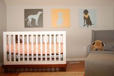 This orange and grey nursery is so fresh and modern with its clean lines and minimalist approach The blogger (click through to read) notes that the art was custom-made to picture the family dogs. Modern, minimalist AND personal? A rare find indeed.