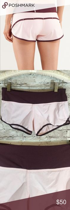 Lululemon Speed Shorts Bordeaux So cute! Excellent condition except tiny dot form the price tag. Size 4.   /144 lululemon athletica Shorts