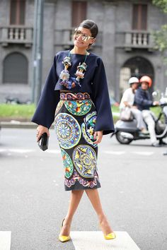 Celine top, Dolce and Gabbana skirt, Marni necklace