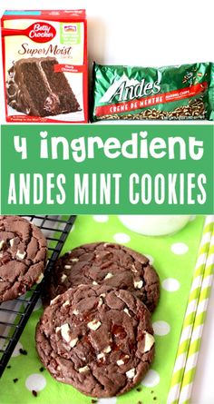 {Just 4 Ingredients} - The Frugal Girls Cake Mix Cookies Recipes Easy Chocolate Andes Mint Cookie Recipe! Just 4 ingredients and you've got the hit of the party! Go grab the recipe and give it a try! Cake Mix Cookie Recipes, Chip Cookie Recipe, Cookies From Cake Mix, Lazy Cake Cookies, Cookie Mixes, Cookie Cups, Brownie Recipes, Köstliche Desserts, Dessert Recipes
