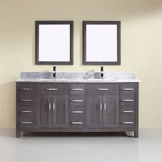 Spa Bathe Kenzie French Gray Undermount 2-Sink Bathroom Vanity with Natural Marble Top and 2 Mirrors (Common: 75-in x 22-in; Actual: 75-in x 22-in)