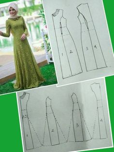 (POLA) Baju Kurung potongan puteri (princess cut) - Her Crochet Long Dress Patterns, Dress Sewing Patterns, Clothing Patterns, Sewing Clothes, Diy Clothes, Abaya Pattern, Muslim Dress, Pattern Cutting, Schneider