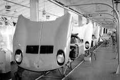 A row of Miuras inside the #Lamborghini factory in 1969