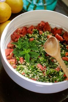 Tabbouleh Salad with Cracked Wheat Bulgur by The Kitchn - added chickpeas, cucumber, and feta.  So good!