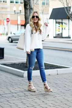 Style Cusp Bell Sleeve Top and Platform Sandals