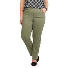Plus Size Just My Size Women's Plus Twill Pant, Size: 24W, Green