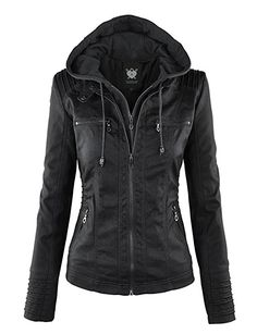 Lock and Love WJC663 Womens Removable Hoodie Motorcyle Jacket XS Black at Amazon Women's Coats Shop