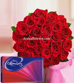 2 IN ONE 12 Red Roses Bunch 1 Cadbury Celebrations Pack 141 gm Free Message Card