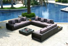 Black Rattan Furniture Collection. Outdoor Event Furniture. St. Louis, MO. Weinhardt Party Rentals.