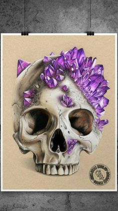 Realistic Drawings, Colorful Drawings, Art Drawings Sketches, Skull Drawings, Sketch Art, Drawing Art, Hand Illustration, Skull Reference, Crystal Drawing
