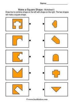 Printable brain teaser worksheets for kids in preschool, kindergarten, grade make square shapes by adding each shape on the left to a shape on the right. Preschool Worksheets, Math Activities, Preschool Activities, Body Preschool, Printable Brain Teasers, Visual Perceptual Activities, Shapes Worksheets, Math For Kids, Thinking Skills