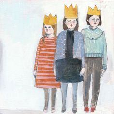 three girls with crowns - print of original oil painting. $30.00, via Etsy.