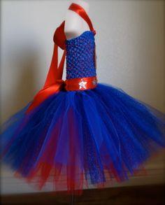 Hecho a la medida. Capitán América rojo azul y por MaBelleCouture