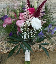 Hand picked and arranged brides bouquet for a lady in Derbyshire. By Milton Keynes wedding florist and grower of British Flowers www.fieldgateflowers.co.uk supplied along with buckets of DIY flowers for the table centres