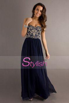 2014 Prom Dresses Sweetheart Floor Length Chiffon With Silver Beading Dark Navy USD 139.99 STPKMDQ51C - StylishPromDress.com