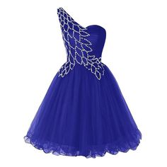 Unique Style One Shoulder A-line Prom Dress, Pretty Sequins Royal Blue Short Prom Dress, Sleeveless Mini Tulle Prom Dress, #020102717