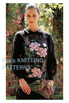 Lady's sweater with Roses knitting pattern in DK, intarsia. Picture knitting. Intarsia Knitting, Double Knitting, Sweater Outfits, Christmas Sweaters, Knitting Patterns, Sweaters For Women, Roses, Graphic Sweatshirt, Brand New