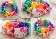 Kandi Cuff - Neon Raibow Hello Kitty 3D Kandi Cuff. $12 etsy