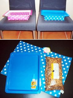 Top 10 Easy and Creative DIY Desk Trays - Dollar Store Lap Desk….this would be great to make for each kid to have something to write on in - 1 Dollar Store, Dollar Store Crafts, Lap Desk For Kids, Travel Tray, Car Travel, Desk Tray, Lap Tray, Road Trip Activities, Sewing Room Organization
