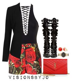 """Untitled #1591"" by visionsbyjo on Polyvore featuring Givenchy, Dolce&Gabbana, Topshop, Yves Saint Laurent, Giuseppe Zanotti, Marc by Marc Jacobs and Monet"