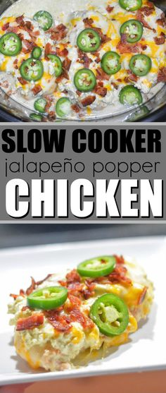 Turn your favorite appetizer into a delicious dinner with this Slow Cooker Jalapeno Popper Chicken. Every bite is loaded with flavors from your favorite appetizer. Stew Chicken Recipe, Easy Crockpot Chicken, Keto Crockpot Recipes, Slow Cooker Recipes, Chicken Recipes, Healthy Recipes, Chicken Cooker, Keto Chicken, Chicken Chili