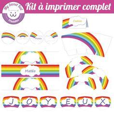 printable thème rainbow, topper, wrapper pour cupcakes... pour anniversaire, fête, baptème